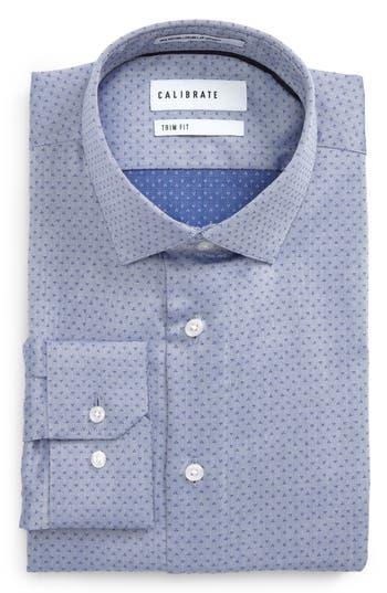 Men's Calibrate Trim Fit Print Dress Shirt