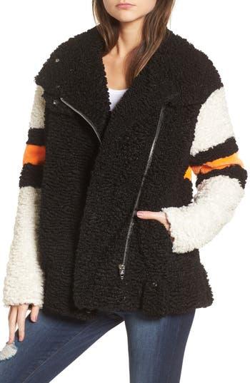 Women's Blanknyc Stripe Faux Shearling Jacket, Size X-Small - Black