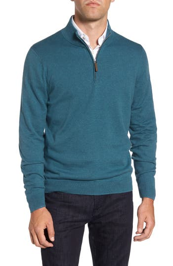 Men's Big & Tall Nordstrom Men's Shop Half Zip Cotton & Cashmere Pullover, Size LT - Blue/green