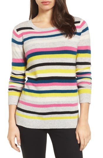 Women's Halogen Stripe Cashmere Sweater, Size X-Small - Grey