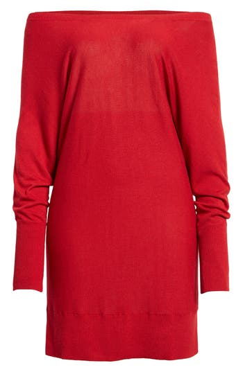 Women's Trouve Off The Shoulder Sweater Tunic, Size XX-Small - Red