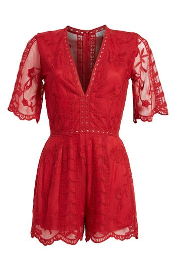 Women's Socialite Plunging Lace Romper, Size X-Small - Red
