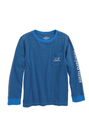 Boy's Vineyard Vines Stripe Vintage Whale Pocket T-Shirt