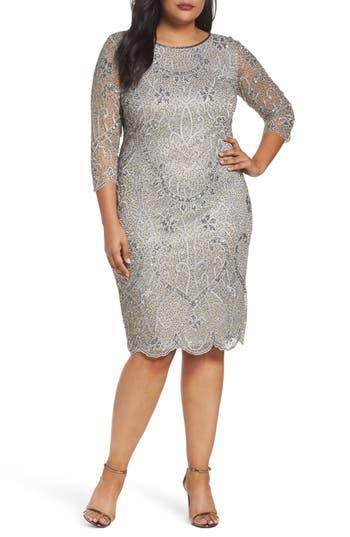 1920s Plus Size Dresses, Gatsby Dresses, Flapper Costumes Pisarro Nights Embellished Sheath Dress $136.80 AT vintagedancer.com