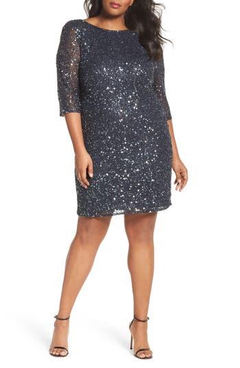 1920s Style Dresses, Flapper Dresses Plus Size Womens Pisarro Nights Draped Back Beaded Dress Size 24W - Grey $198.00 AT vintagedancer.com