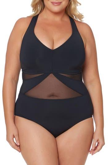Plus Size Bleu By Rob Beattie Mesh One-Piece Swimsuit, Black