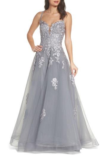 1950s Prom Dresses & Party Dresses Womens La Femme Embellished Mesh Halter Ballgown $458.00 AT vintagedancer.com