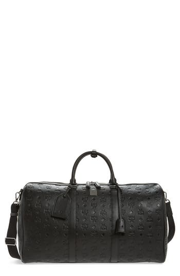 Mcm  OTTOMAR LEATHER DUFFEL BAG - BLACK