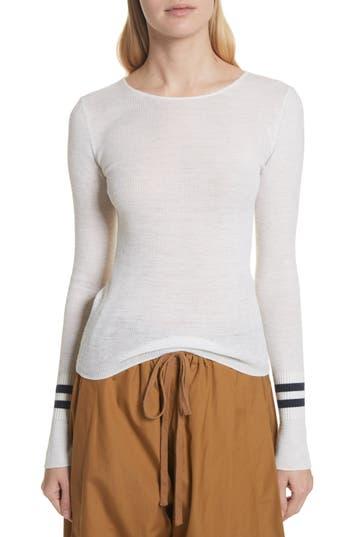 Vince Stripe Cuff Wool Sweater, White