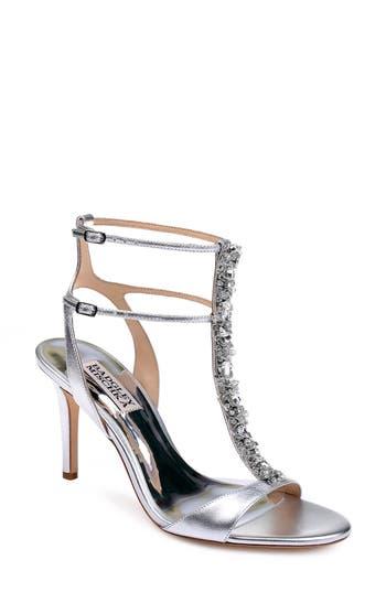 Badgley Mischka Hollow T-Strap Embellished Sandal, Metallic