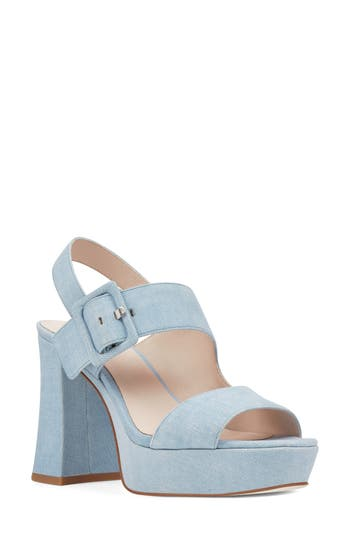 Women's Nine West Lexine - 40Th Anniversary Capsule Collection Platform Sandal, Size 11 M - Blue