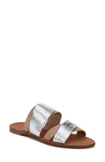 Diane Von Furstenberg Blake Cross Strap Slide Sandal, Metallic