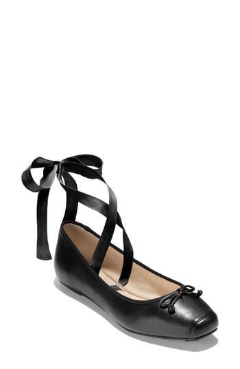Cole Haan Downtown Ankle Wrap Ballet Flat, Black