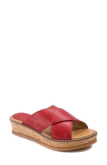 Latigo Kayda Cross Strap Platform Sandal, Red