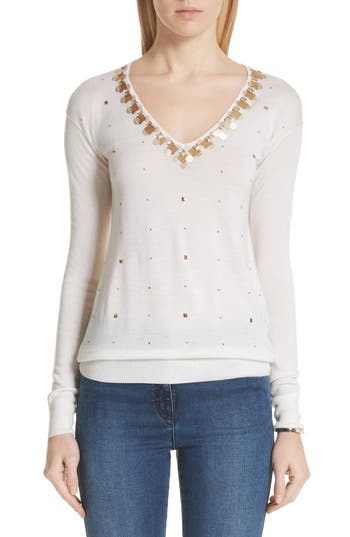 St. John Collection Embellished Wool, Silk & Cashmere Sweater, White