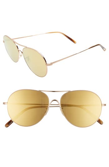 Oliver Peoples Rockmore 5m Aviator Sunglasses - Amber