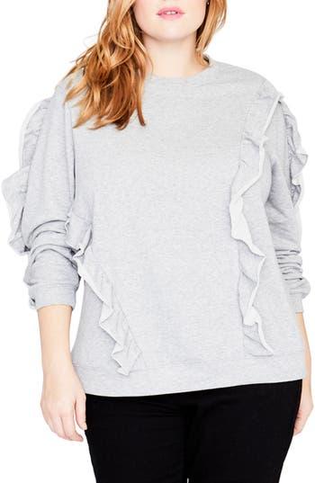 Plus Size Rachel Rachel Roy Ruffle Sweatshirt, Grey