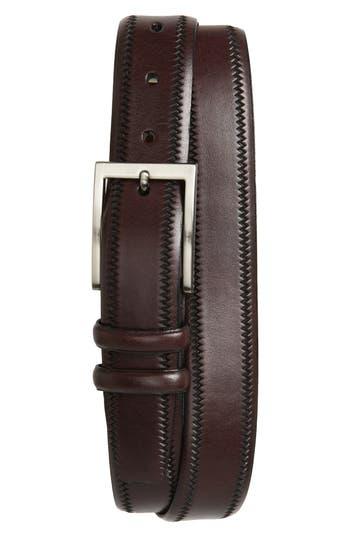 Big & Tall Torino Belts Embossed Leather Belt, Cordovan