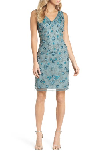 Pisarro Nights 3D Floral Embellished Sheath Dress, Blue