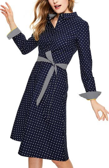 Polka Dot Dresses: 20s, 30s, 40s, 50s, 60s Boden Posy Polka Dot Shirtdress Size 10P - Blue $130.00 AT vintagedancer.com