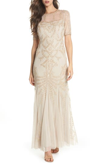 Vintage Inspired Wedding Dress | Vintage Style Wedding Dresses Petite Womens Adrianna Papell Beaded Trumpet Gown Size 16P - Beige $209.40 AT vintagedancer.com