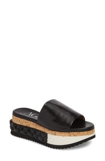 Agl Braided Flatform Slide Sandal, Black