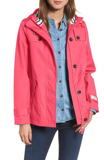 Joules Right As Rain Waterproof Hooded Jacket, Red