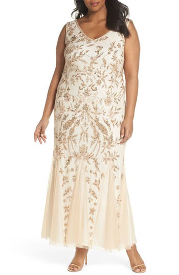 Vintage Inspired Wedding Dress | Vintage Style Wedding Dresses Plus Size Womens Pisarro Nights Embellished Mesh Gown $248.00 AT vintagedancer.com
