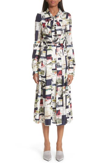 Oscar De La Renta Postcard Print Tie Neck Silk Dress, White