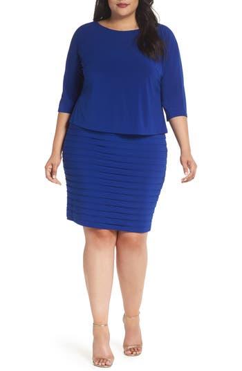 Plus Size Adrianna Papell Shutter Pleat Popover Sheath Dress, Blue