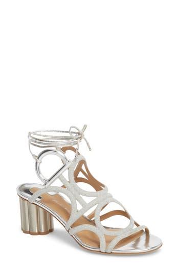 Women's Salvatore Ferragamo Vinci Lace-Up Sandal, Size 7 B - Metallic