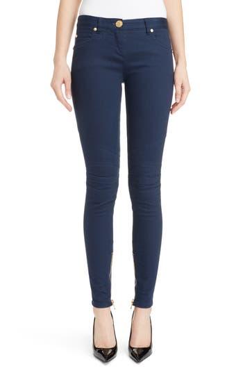 Skinny Moto Jeans, Dark Blue