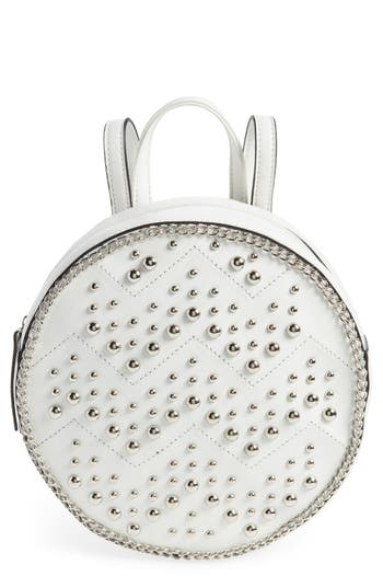 Yoki Bags Studded Faux Leather Round Backpack - White