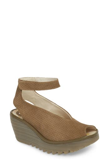 Women's Fly London 'Yala' Perforated Leather Sandal, Size 8-8.5US / 39EU W - Green