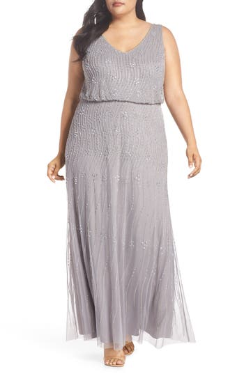 1920s Style Dresses, Flapper Dresses Plus Size Womens Adrianna Papell Beaded Blouson Gown $329.00 AT vintagedancer.com