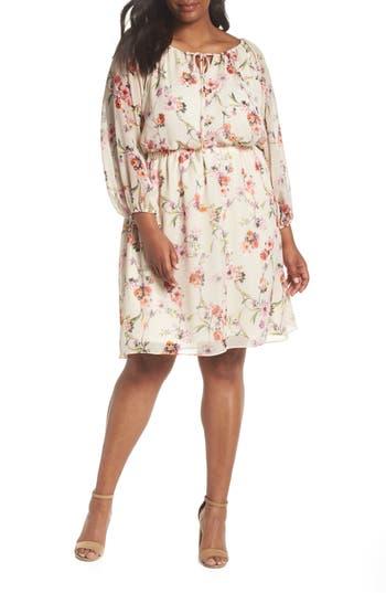 Plus Size Adrianna Papell Bonita Oasis Printed Dress, Beige