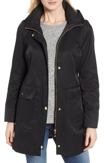 Kristen Blake Hooded Rain Jacket, Black