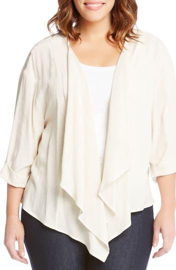 Plus Size Karen Kane Drape Front Jacket, Grey