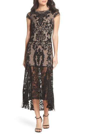 Bronx And Banco Boho Lace Cap Sleeve Gown, Black