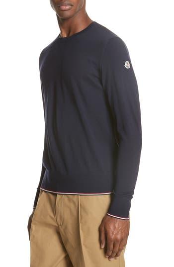 Moncler Maglia Virgin Wool Sweater, Blue