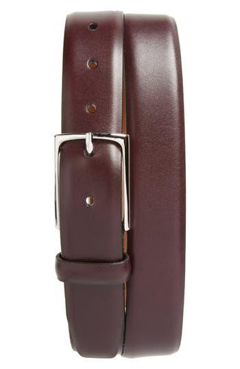 Big & Tall Nordstrom Shop Pullman Leather Belt, Burgundy Royale