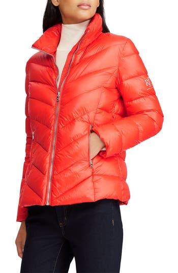 Lauren Ralph Lauren Chevron Quilted Packable Down Jacket, Orange