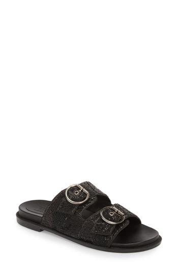 Women's Topshop Frankie Embellished Slide Sandal, Size 7.5US / 38EU M - Black