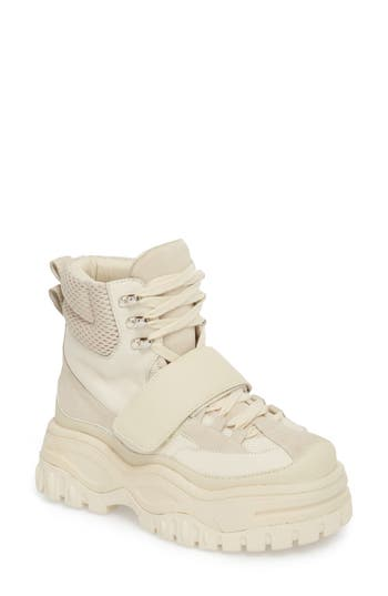 Fonzie Platform Sneaker Boot, Off White Combo