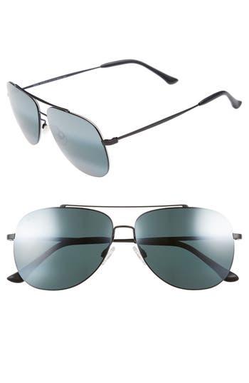 Maui Jim Cinder Cone 5m Polarizedplus2 Aviator Sunglasses - Matte Black/ Neutral Grey