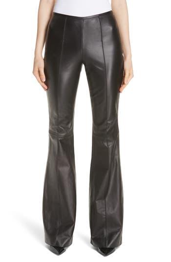 Michael Kors Leather Flare Pants, Black