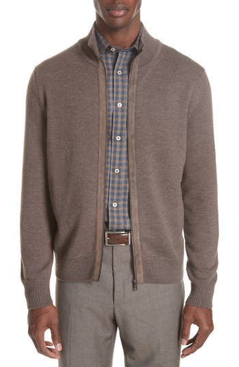 Canali Merino Wool Zip Cardigan, 0 US / 5 R - Brown