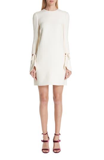 Oscar De La Renta Split Sleeve Wool & Silk Crepe Shift Dress, White