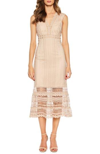 Petra Lace Tea Length Dress, Pebble