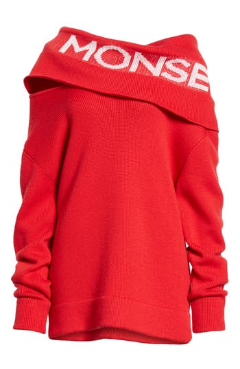 Monse Logo Off The Shoulder Wool Blend Sweater, Red